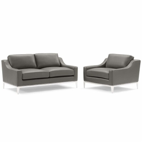 Harness Stainless Steel Base Leather Loveseat & Armchair Set Gray Perspective: front