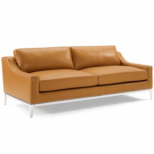 Harness Stainless Steel Base Leather Sofa and Loveseat Set Tan Perspective: front