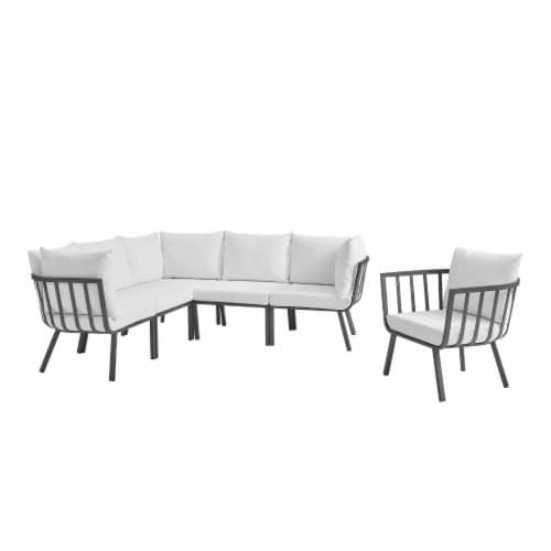 Riverside 6 Piece Outdoor Patio Aluminum Set Gray White Perspective: front