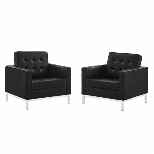 Loft Tufted Upholstered Faux Leather Armchair Set of 2 Silver Black Perspective: front