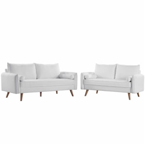 Revive Upholstered Fabric Sofa and Loveseat Set White Perspective: front