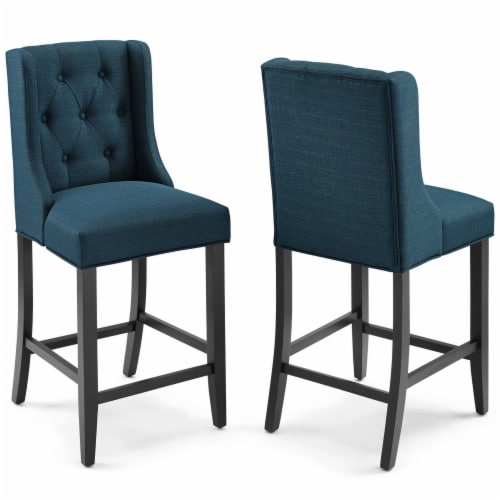 Baronet Counter Bar Stool Upholstered Fabric Set of 2 Azure Perspective: front