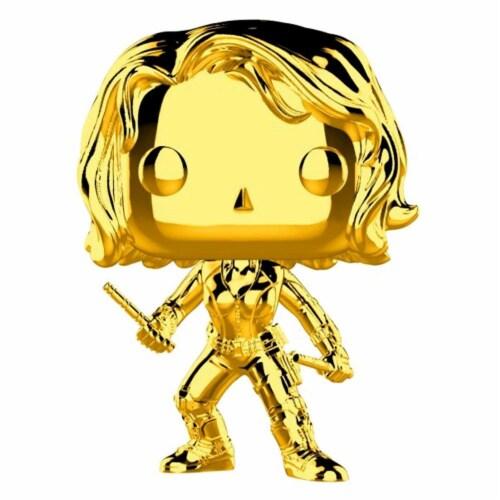 Black Widow Marvel Studios 10th Anniversary Funko Gold Chrome Pop Bobblehead Perspective: front