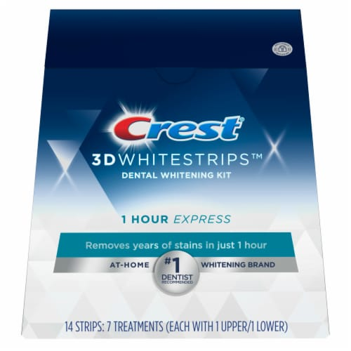 Crest 3D Whitestrips 1 Hour Express Teeth Whitening Treatment Kit Perspective: front