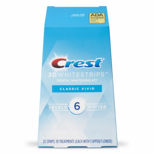 Crest 3D Whitestrips Classic Vivid Teeth Whitening Kit 10 Treatments Perspective: front
