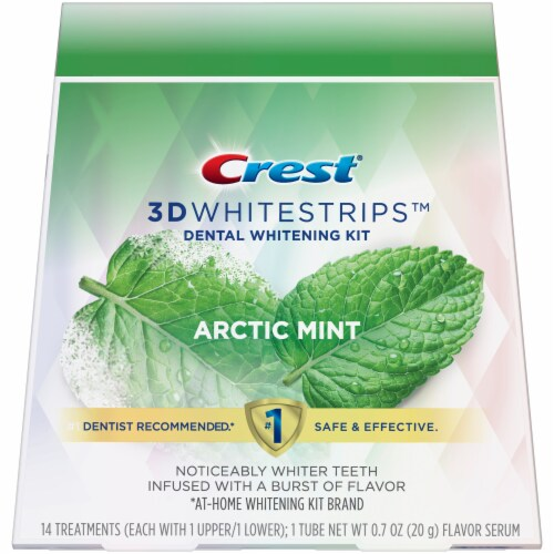 Crest 3D Whitestrips Arctic Mint Teeth Whitening Kit 14 Treatments Perspective: front