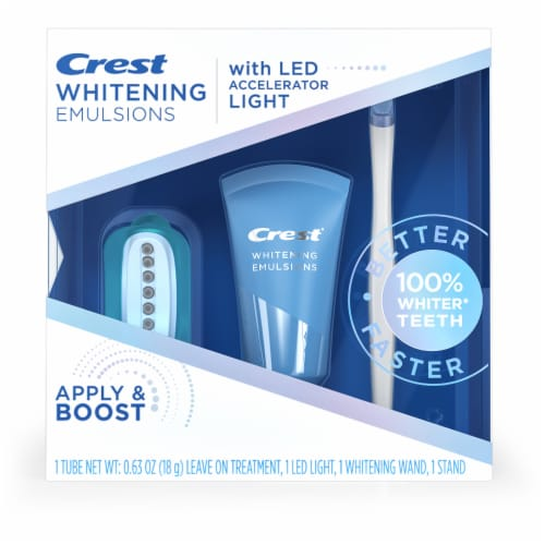 Crest Whitening Emulsions with LED Accelerator Light Whitening Kit Perspective: front