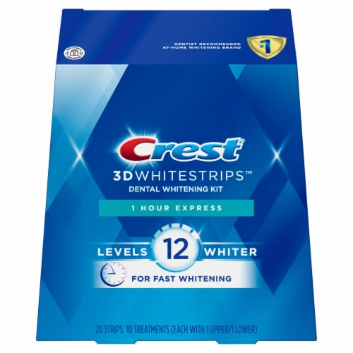 Crest 3D White Strips 1 Hour Express Dental Whitening Kit Perspective: front