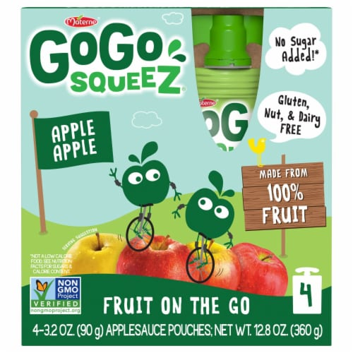 GoGo SqueeZ Apple Apple Applesauce Pouches Perspective: front