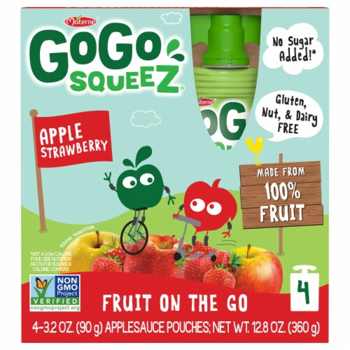GoGo Squeez Apple Strawberry Applesauce Pouches Perspective: front