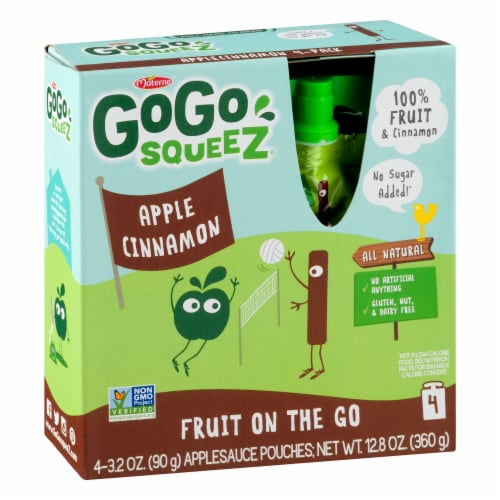 Gogo Squeez Apple Cinnamon Applesauce on the Go Perspective: front