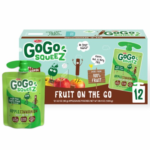 GoGo SqueeZ Apple Cinnamon Applesauce Pouches Perspective: front
