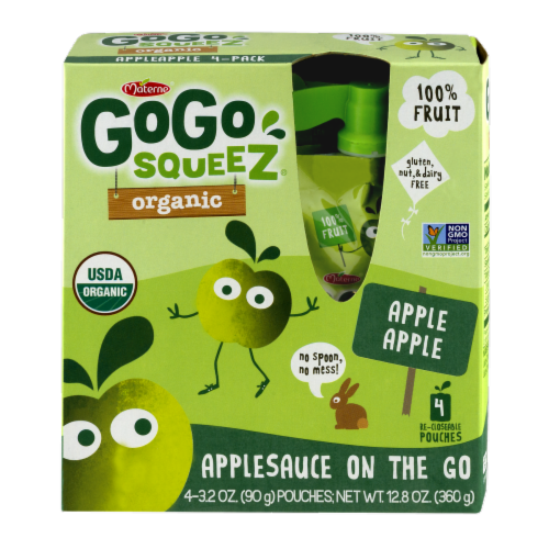 GoGo Squeez Organic Applesauce Pouches Perspective: front