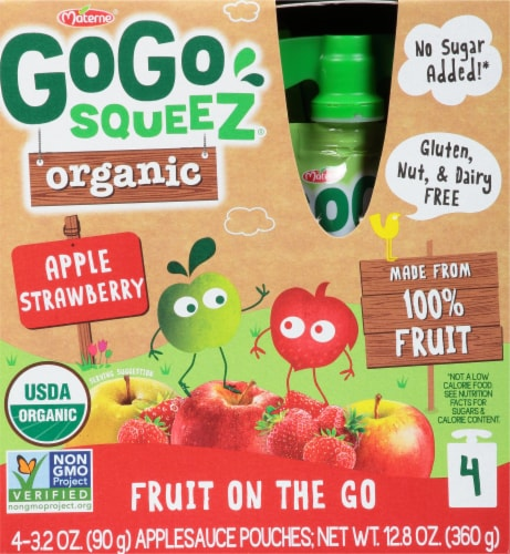 GoGo Squeez Organic Apple Strawberry Applesauce Pouches Perspective: front