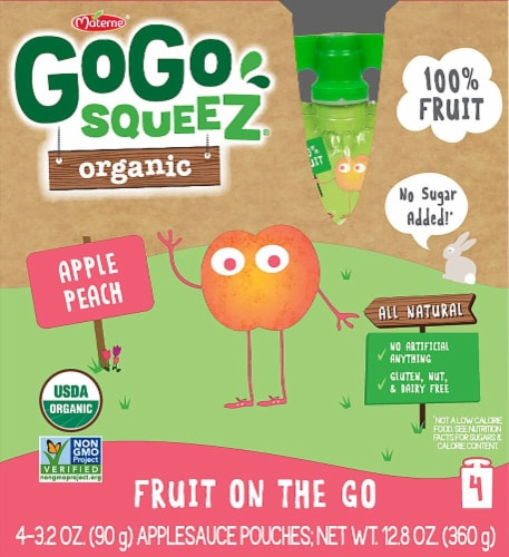 GoGo Squeez  Organic Fruit On The Go   Apple Peach Perspective: front