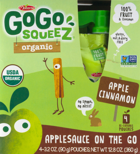 GoGo Squeez Organic Apple Cinnamon Applesauce Pouches Perspective: front