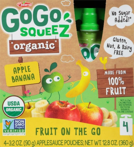 GoGo Squeez Organic Fruit On The Go Apple Banana Pouches Perspective: front