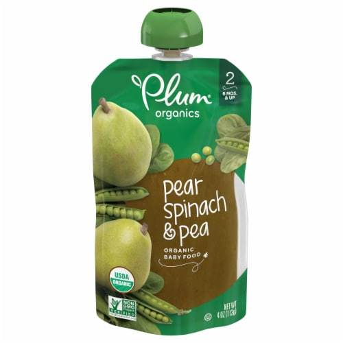 Plum Organics Pear Spinach & Pea Stage 2 Baby Food Perspective: front