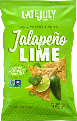 Late July Snacks Jalapeno Lime Clasico Tortilla Chips Perspective: front