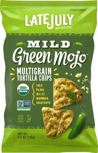 Late July Organic Mild Green Mojo Tortilla Chips Perspective: front
