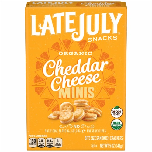 Late July Organic Mini Cheddar Cheese Sandwich Crackers Perspective: front