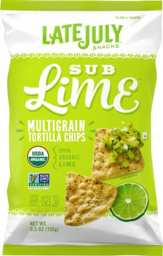 Late July Organic Sub Lime Multigrain Tortilla Chips Perspective: front