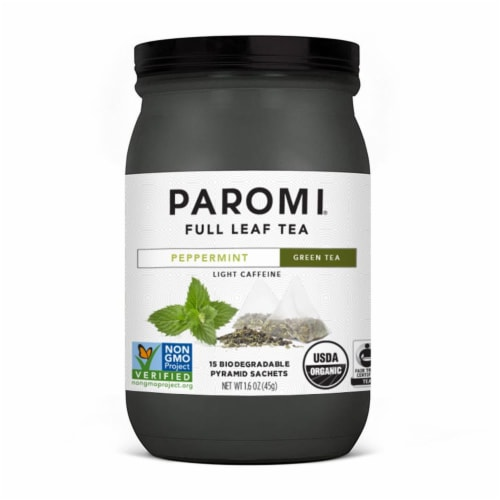 Paromi Peppermint Green Tea Pyramid Sachets Perspective: front