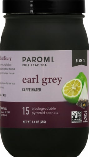 Paromi Earl Grey Black Full Leaf Tea Sachets Perspective: front