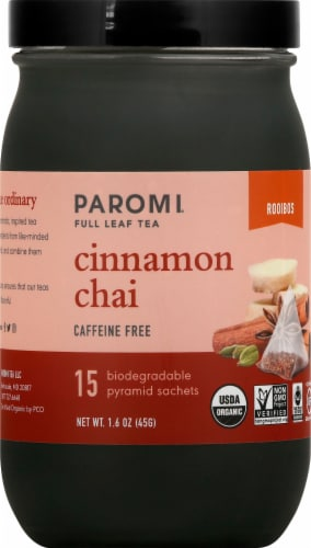 Paromi Cinnamon Chai Rooibos Full Leaf Tea Sachets Perspective: front