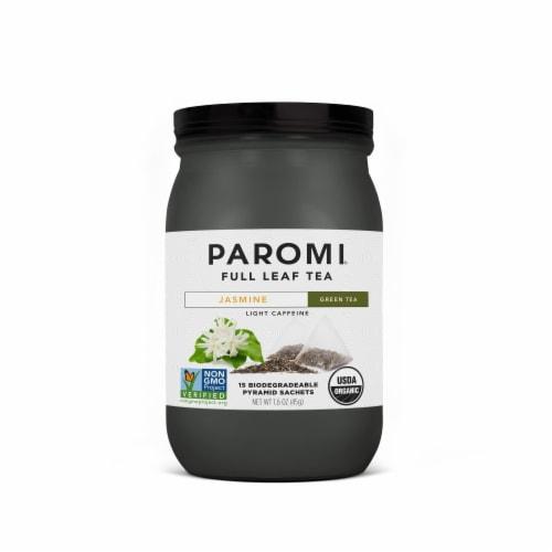 Paromi Organic Jasmine Green Tea Pyramid Sachets Perspective: front