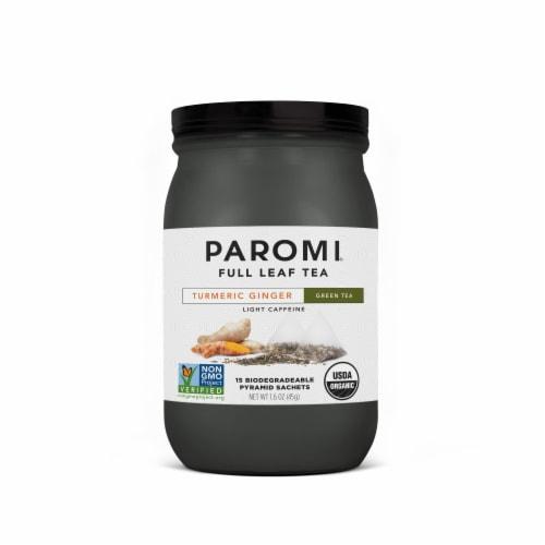 Paromi Organic Turmeric Ginger Green Tea Pyramid Sachets 15 Count Perspective: front