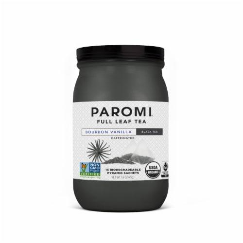 Paromi Organic Bourbon Vanilla Black Tea Pyramid Sachets 15 Count Perspective: front