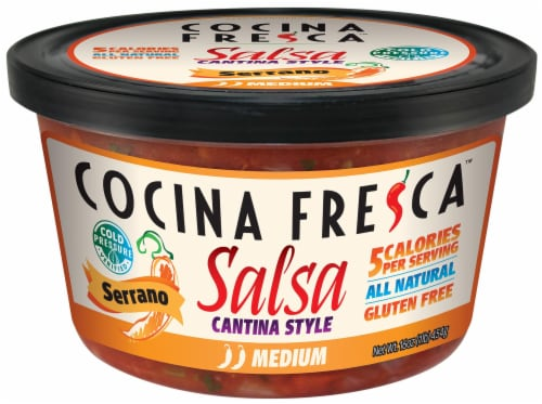 Cocina Fresca Cantina Style Medium Serrano Salsa Perspective: front