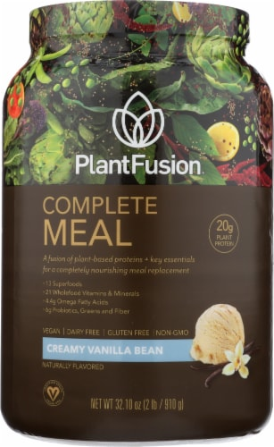PlantFusion Complete Meal Creamy Vanilla Bean Flavored Protein Powder Perspective: front