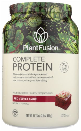 PlantFusion Complete Protein Red Velvet Cake Protein Powder Perspective: front