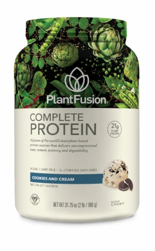 PlantFusion Complete Protein Cookies and Cream Protein Powder Perspective: front