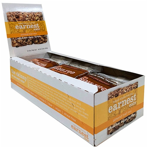 Earnest Eats  Baked Whole Food Bar Vegan   Almond Trail Mix Perspective: front