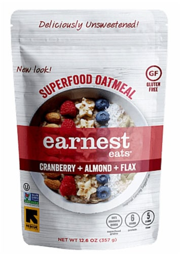 Earnest Eats  Superfood Oatmeal Gluten Free   Cranberry Almond Flax Perspective: front