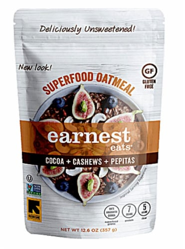 Earnest Eats  Superfood Oatmeal Gluten Free   Cocoa Cashew Pepitas Perspective: front