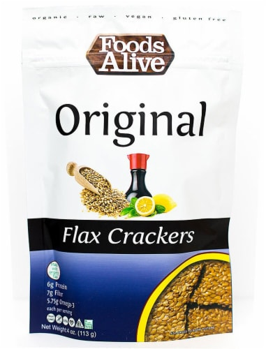 Foods Alive  Organic Flax Crackers   Original Perspective: front