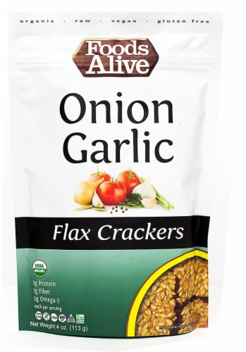 Foods Alive  Organic Flax Crackers   Onion Garlic Perspective: front