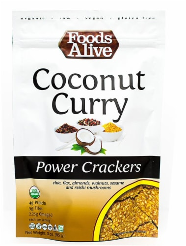 Foods Alive  Organic Power Crackers   Coconut Curry Perspective: front