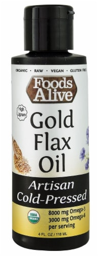 Foods Alive Organic Artisan Cold-Pressed Gold Flax Oil Perspective: front