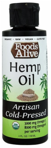 Foods Alive Organic Artisan Cold-Pressed Hemp Oil Perspective: front