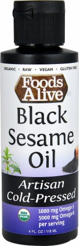 Foods Alive Organic Artisan Cold-Pressed Black Sesame Oil Perspective: front