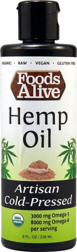 Foods Alive  Organic Hemp Oil Artisan Cold-Pressed Perspective: front