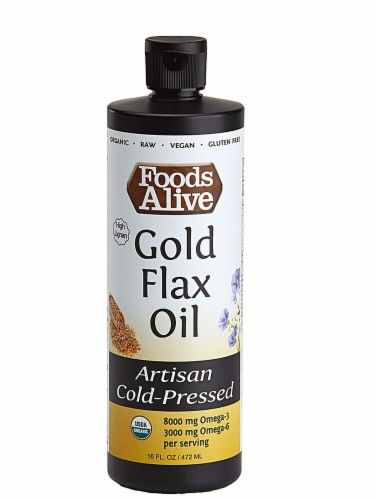 Foods Alive  Organic Gold Flax Oil   Light & Buttery Perspective: front