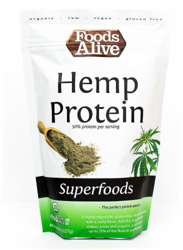 Foods Alive  Organic Superfoods Hemp Protein Powder Raw Perspective: front