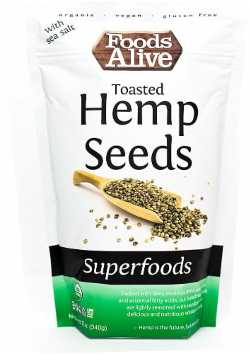 Foods Alive  Organic Superfoods Toasted Hemp Seed with Sea Salt Perspective: front