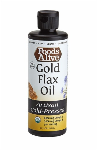 Foods Alive  Organic Gold Flax Oil Artisan Cold-Pressed Perspective: front
